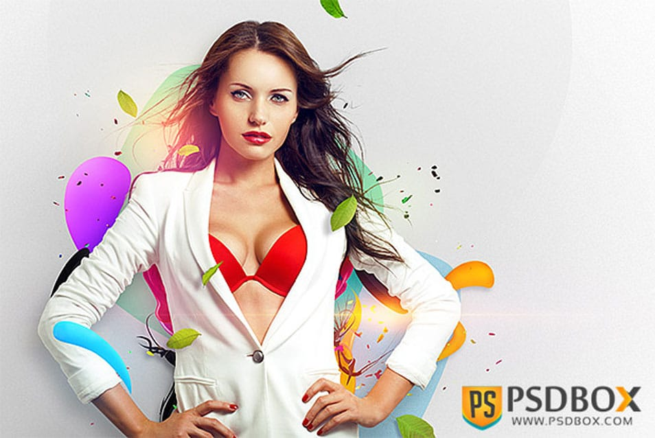 Create a wallpaper with beauty models and abstract elements