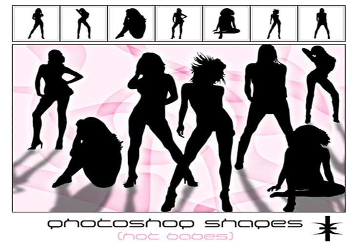 Photoshop Shapes - Hot babes