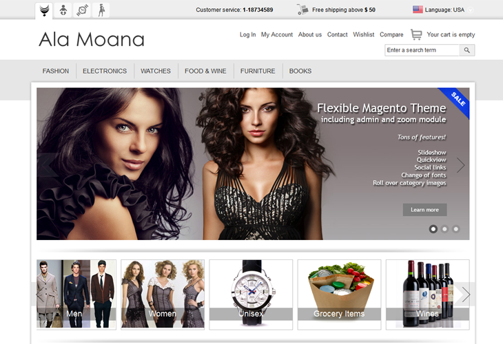 Ala Moana Responsive Magento Theme - cssauthor.com