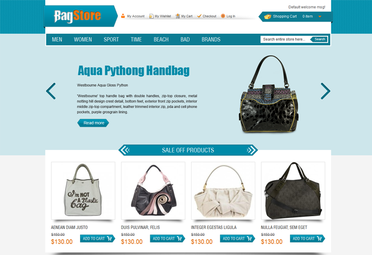 Bag Store Magento Theme - cssauthor.com