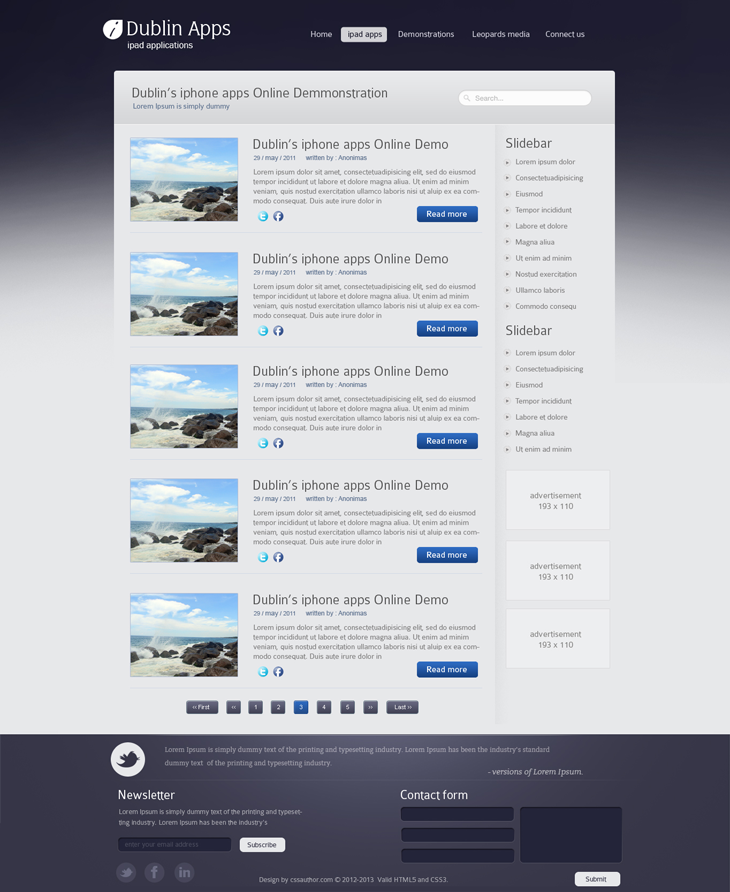 Professional Website Design Template For IPad And IPhone