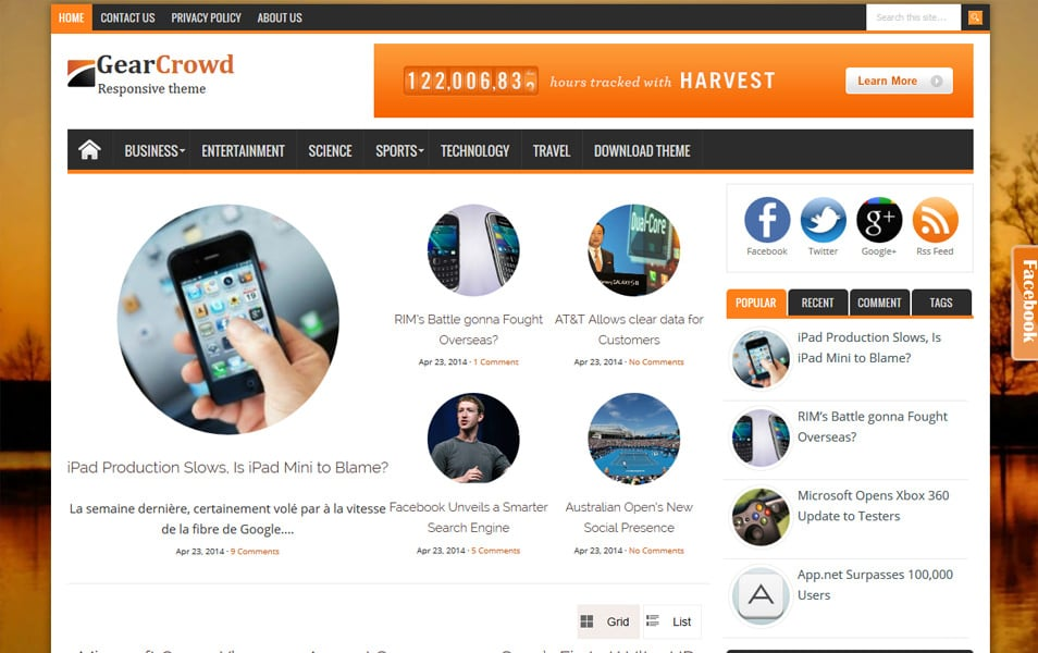 GearCrowd Responsive Magazine Blogger Template