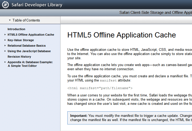 HTML5 Offline Application Cache