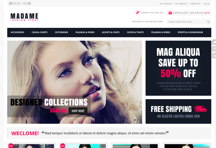 Madame - Responsive Fashion Store Magento Theme - cssauthor.com