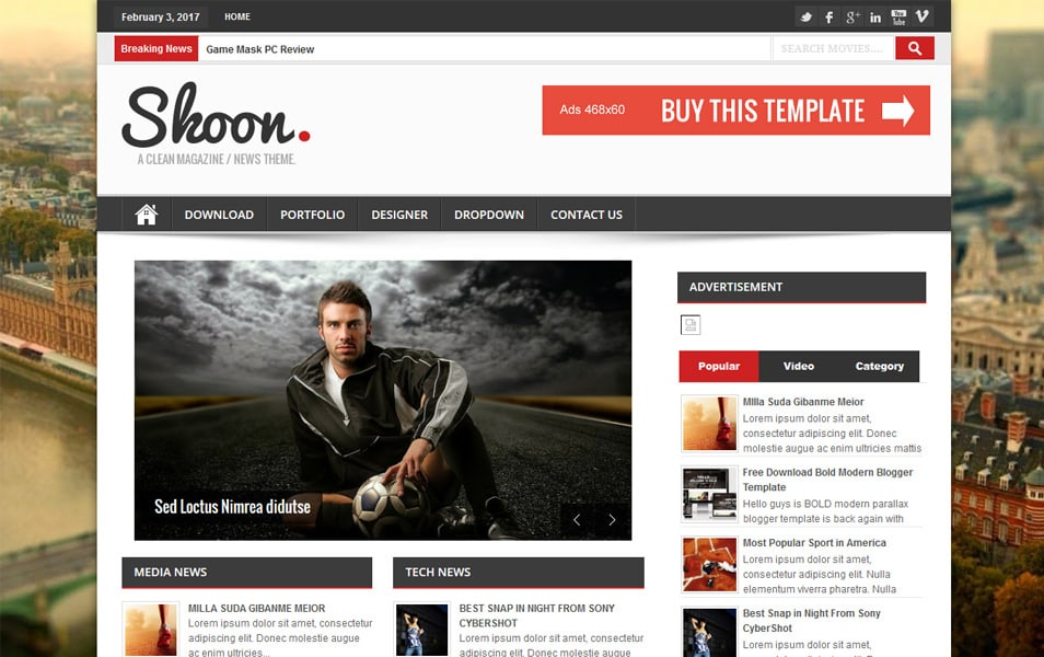 Shoon Responsive Magazine Blogger Template