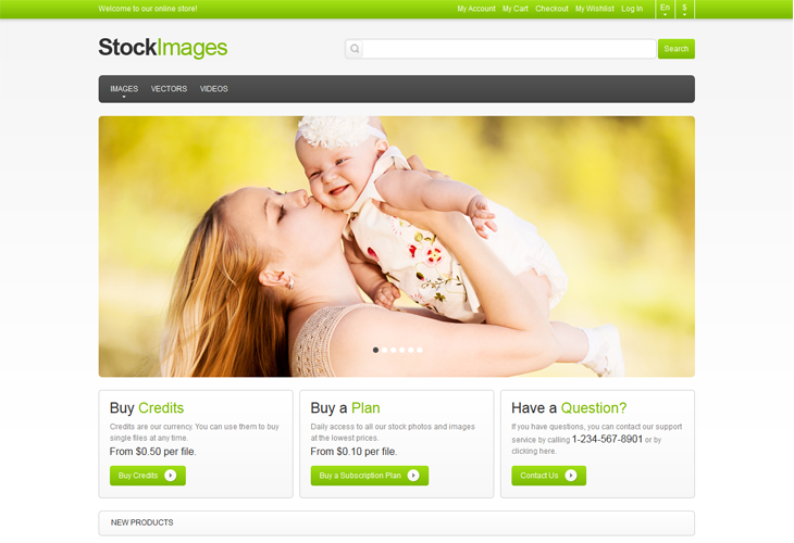 Stock Images Responsive Magento Theme - cssauthor.com