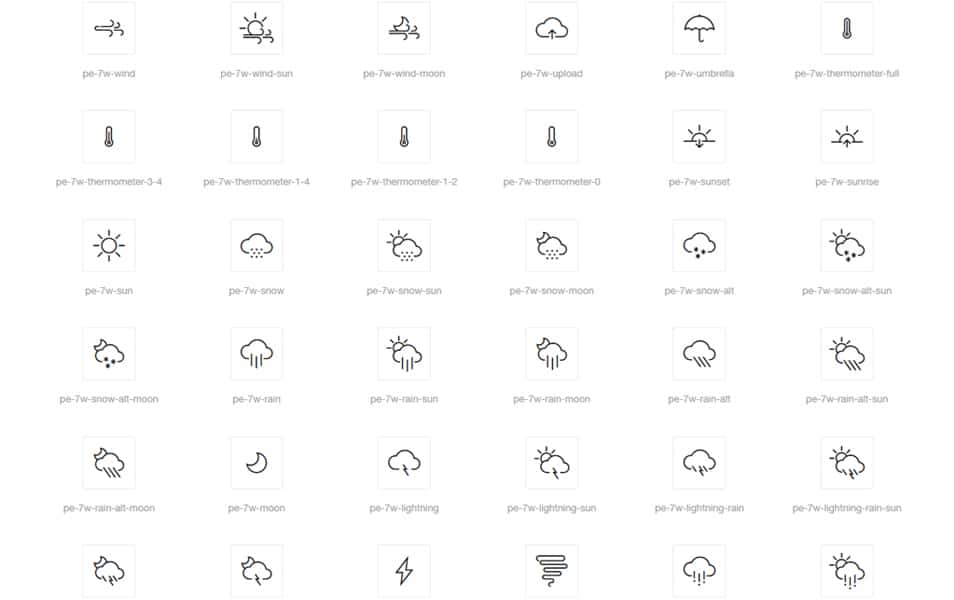 Weather 7 Icon Font Set