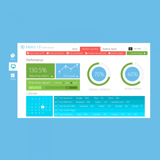 Beautiful Metro Style Dashboard UI Kit PSD for Free Download