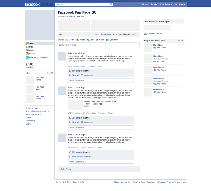 Facebook Fan Page GUI PSD