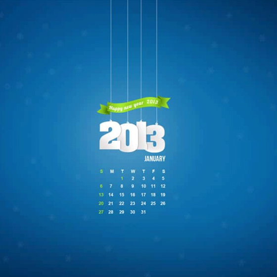 January 2013 Desktop Calendar Wallpaper with PSD for Free Download