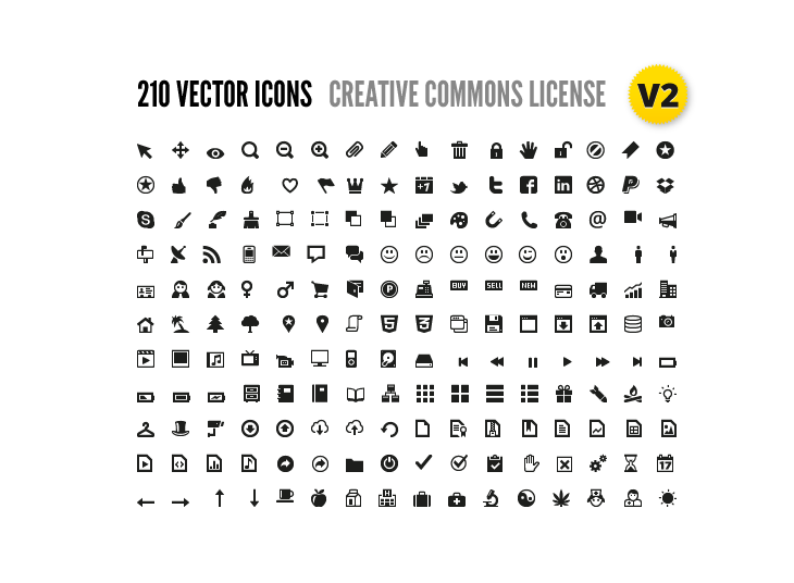 210 Vector Icons for Wireframes