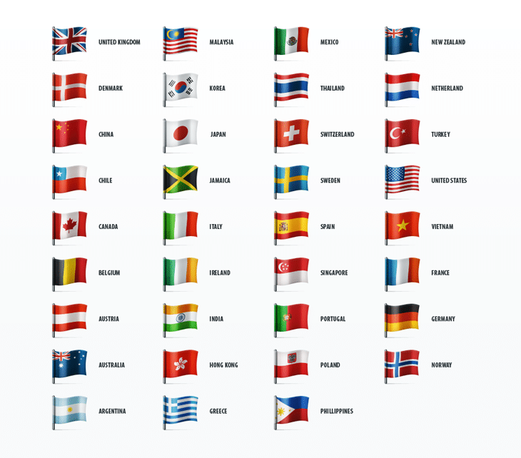 Country Flags Icon Set (35 icons)