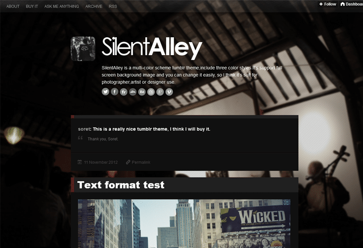 Dark Style Silent Alley- Responsive Multi Color Tumblr Theme