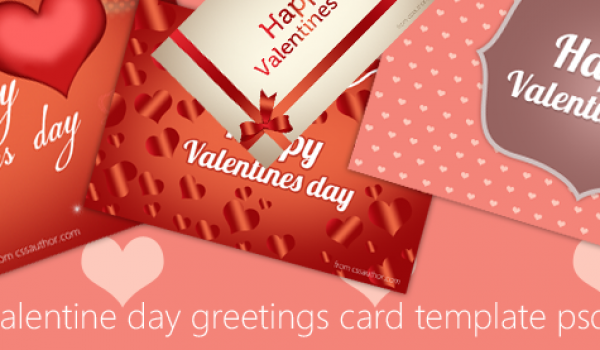 Free Download Happy Valentine Day Greeting Card PSD Template - cssauthor.com