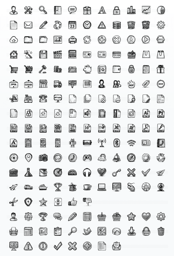 Hand Drawn Sketch Icon Set (130 icons)