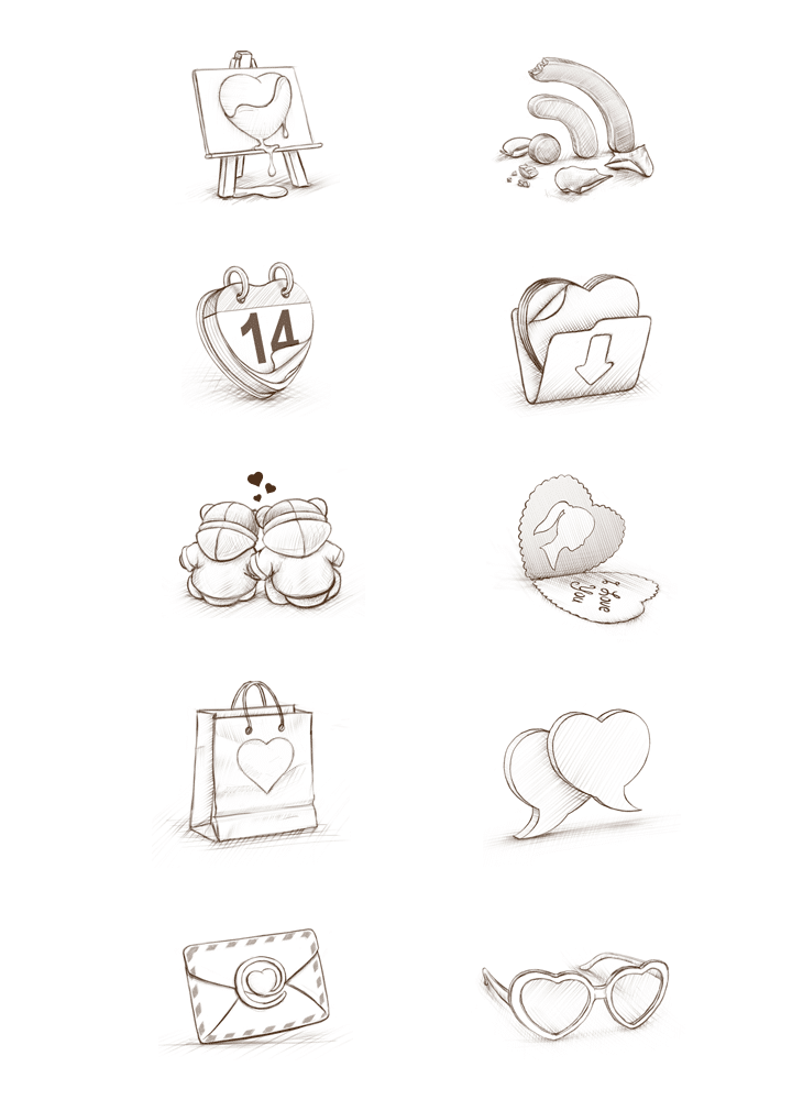 Initial sketches of Cuberto's St. Valentine's icon set.