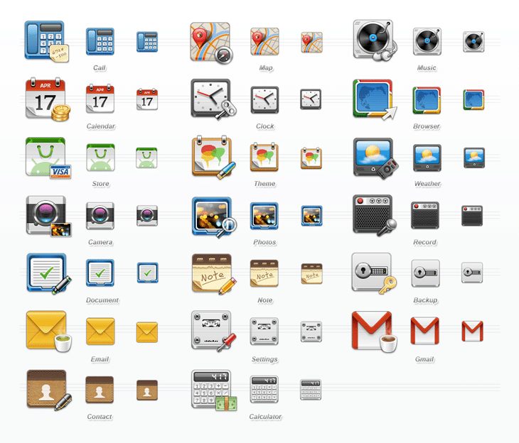 Mobile Application Icon Set (20 icons)