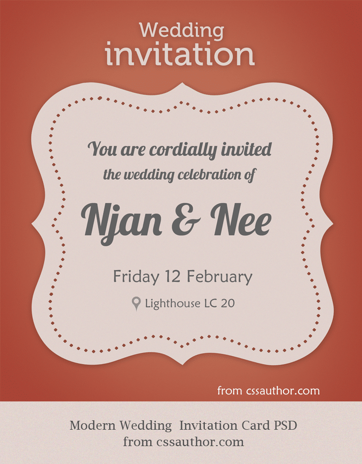 modern wedding invitation card psd for free download freebie no 59