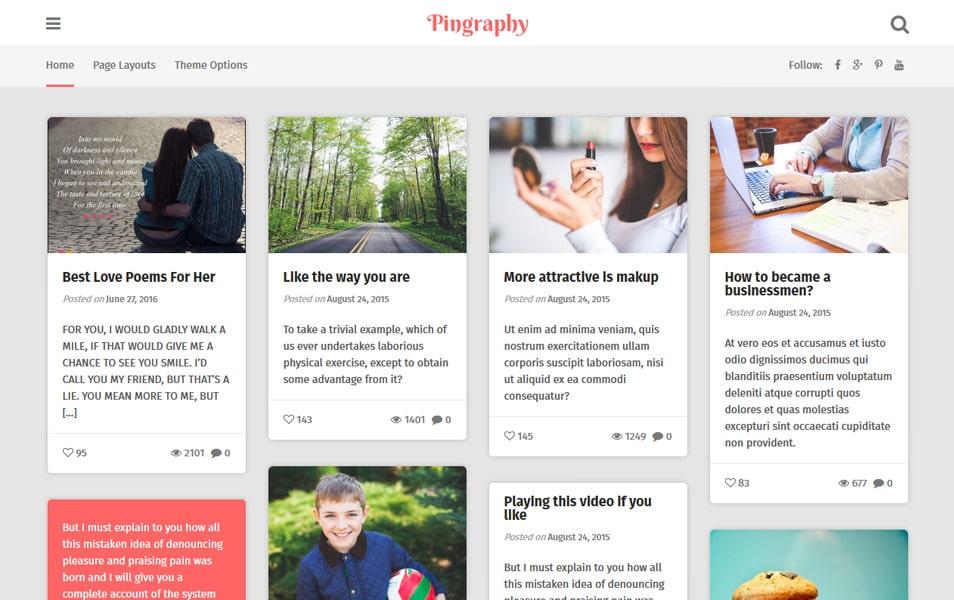 10+ Best Free Pinterest Style WordPress Themes 2018