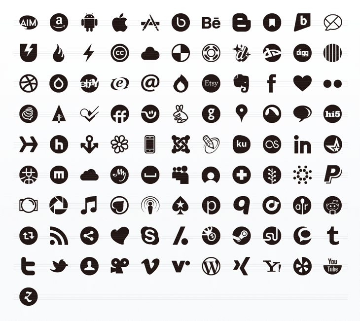 Social Media Glyphs Icon Set (100 icons)