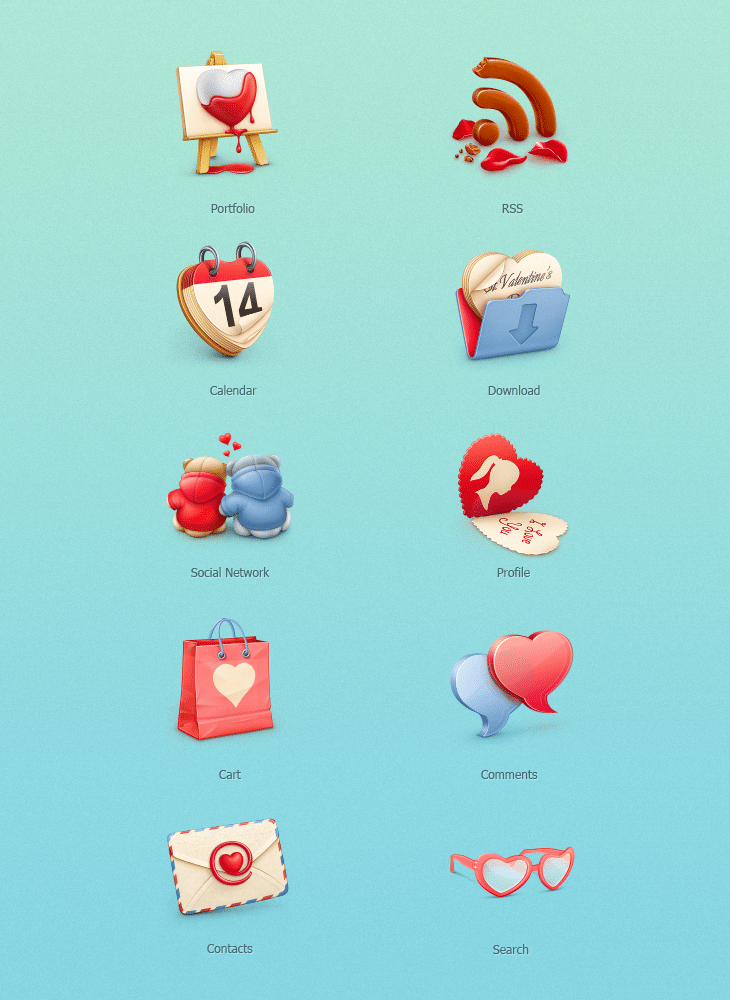 Freebie: St. Valentine's Day Icon Set (10 PNG/PSD Icons)
