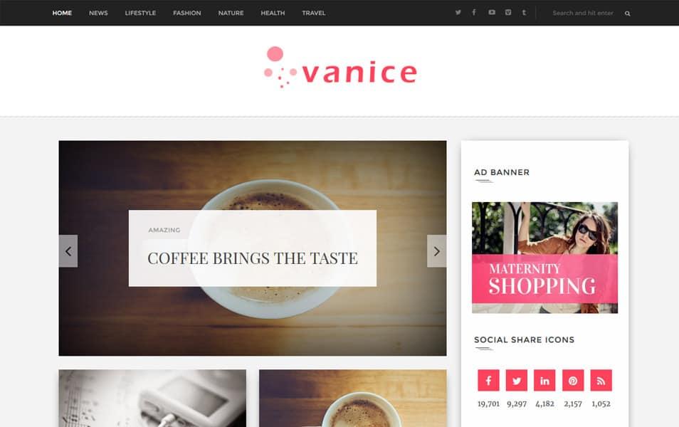 Vanice Magazine Responsive Blogger Template