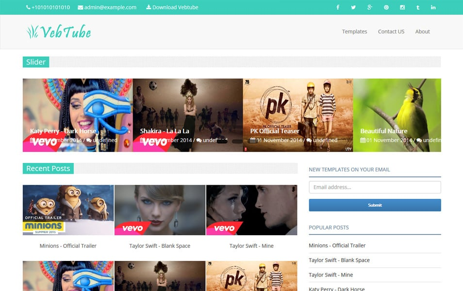 Vebtube Responsive Video Blogger Template