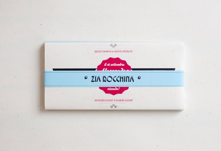 Wedding invitations on chocolate bars