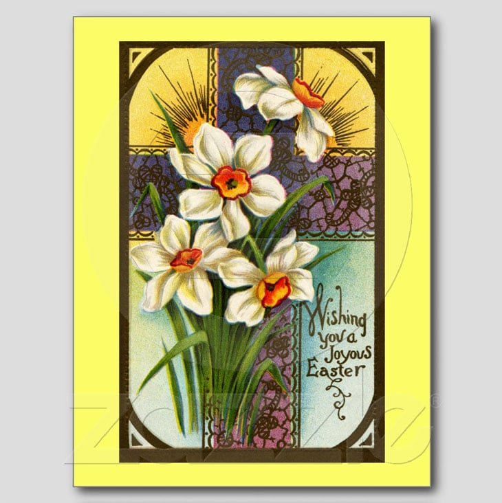 Daffodils and Cross Vintage Easter Postcard