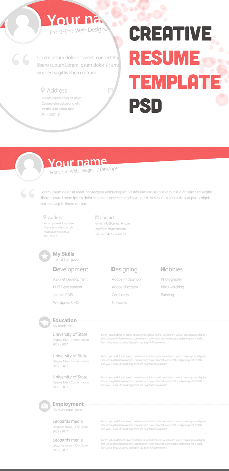 Free Creative Resume Template PSD - cssauthor.com