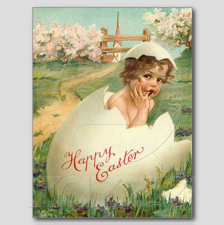 Happy Easter Baby Vintage Post Card