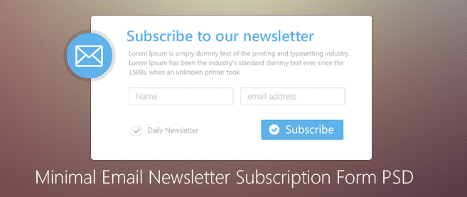 Minimal Email Newsletter Subscription Form Psd For Free