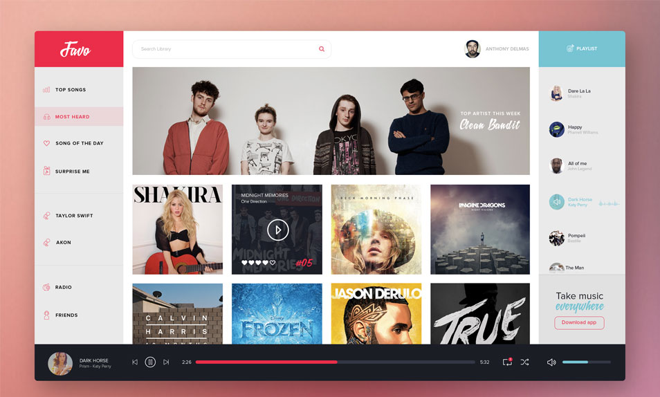 Favo Music Dashboard UI PSD