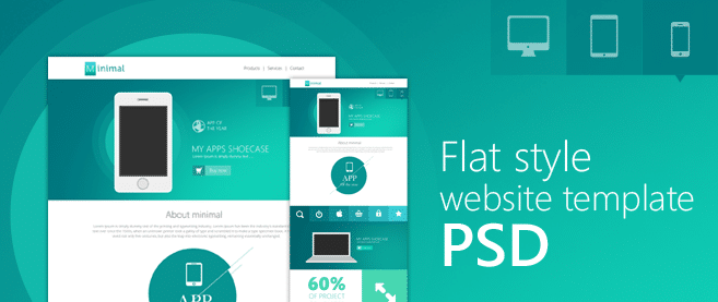 Flat Style Website Template PSD for Free Download - Freebie No: 85