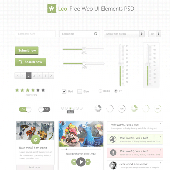 Leo Free Web UI Elements PSD for Free Download