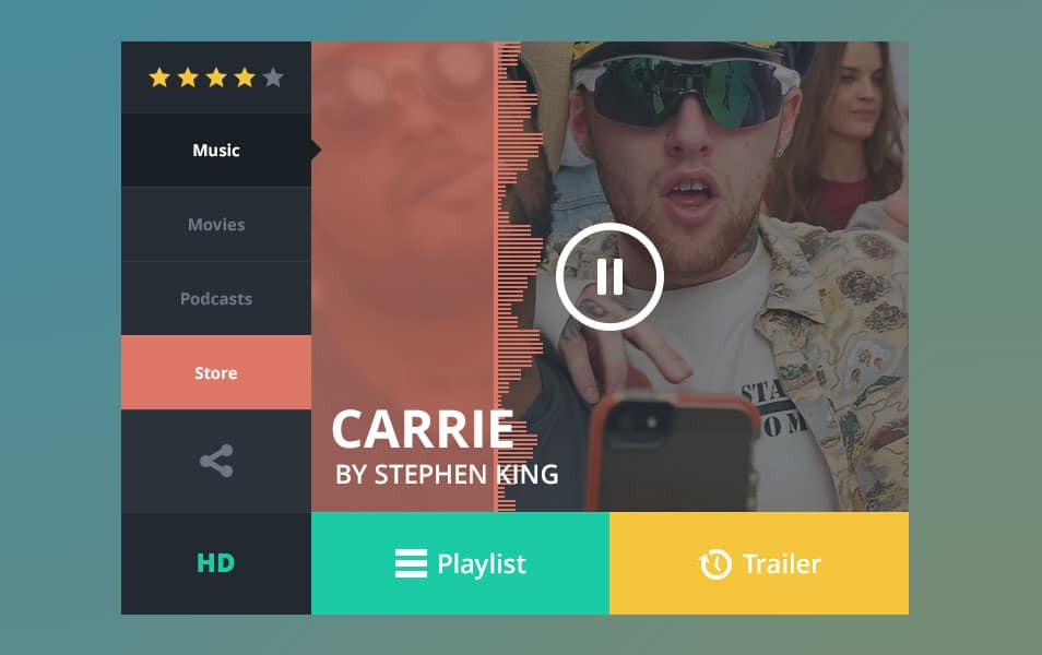Music Player Widget PSD
