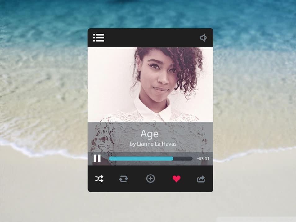 Music player interface PSD