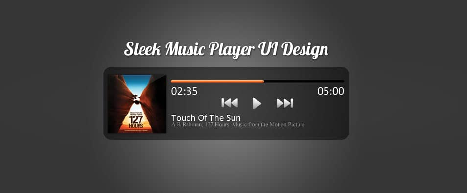 Sleek Music Player UI Design (PSD)