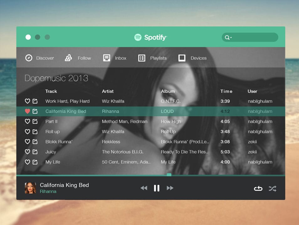 Spotify Flat Music Player PSD