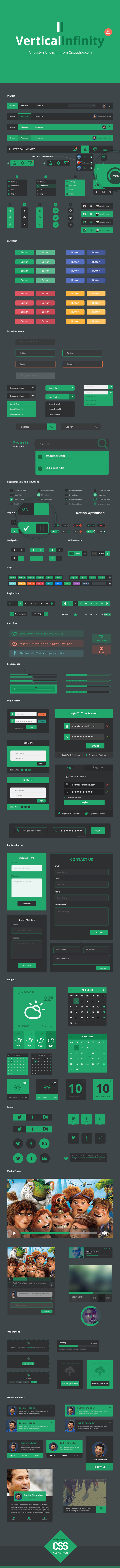 Vertical Infinity – A Mega Flat Style UI Kit PSD for Free Download - cssauthor.com