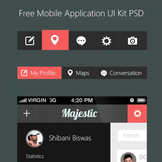 Beautiful Free Mobile Application UI Kit PSD