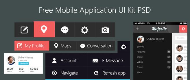 Beautiful Free Mobile Application UI Kit PSD « Freebie No: 95