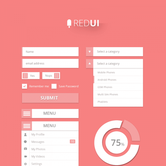 RED UI User Interface Design Kit PSD