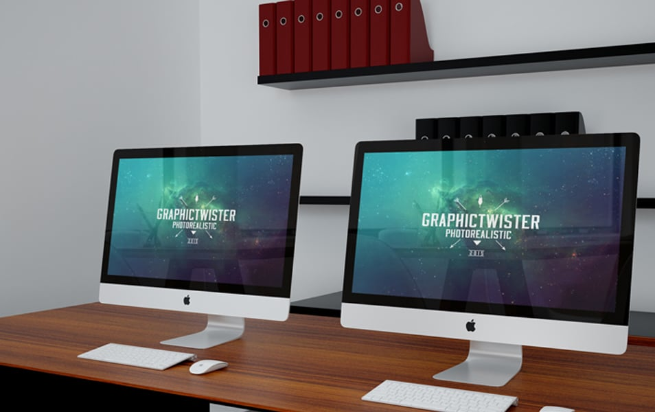 Double iMac Office Mockup