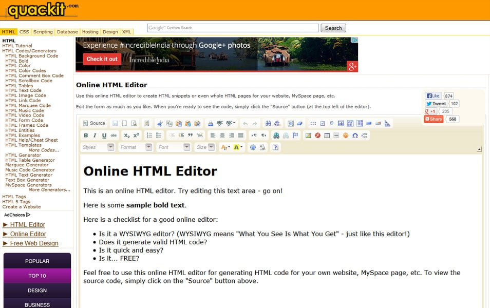 Online HTML Editor | quackit