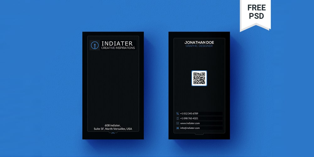 Black Minimal Vertical QR Code Business Card PSD