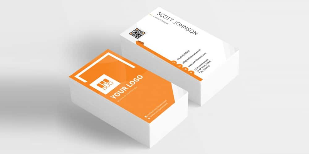 Corporate Orange Business Card PSD