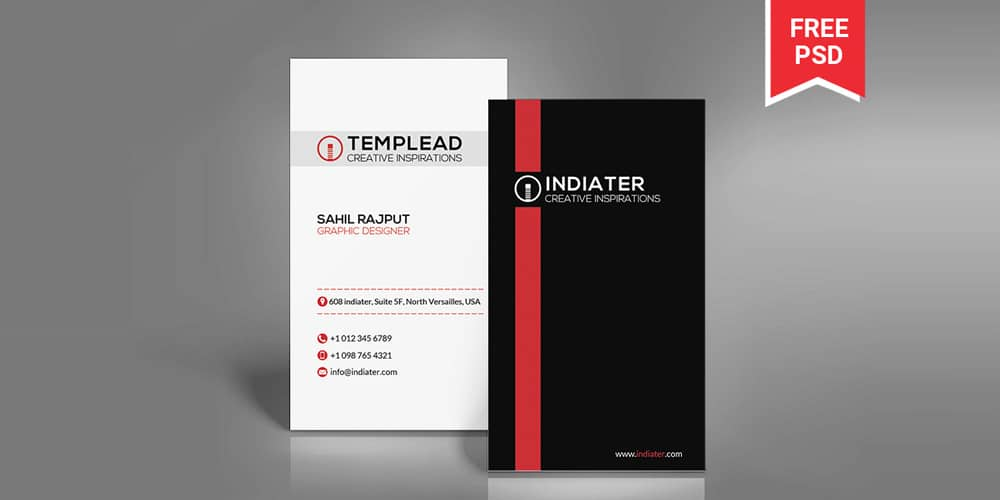 Corporate Vertical Business Card PSD