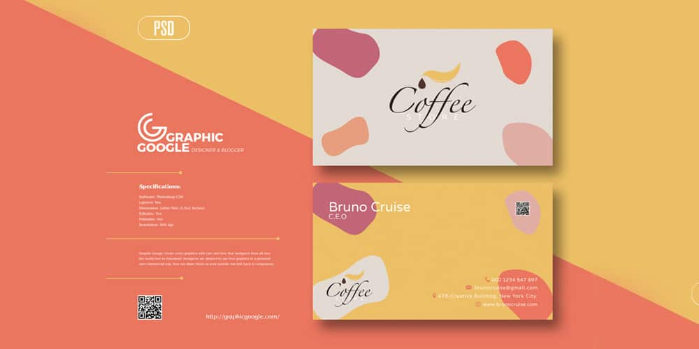 Creative Coffee Store Business Card Design Template