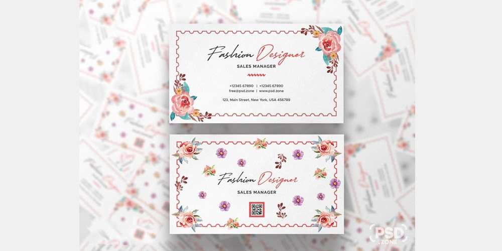 Fashion Designer Business Card Design Template PSD